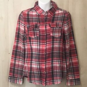Ambiance Apparel Pink and Gray Plaid Shirt Size M